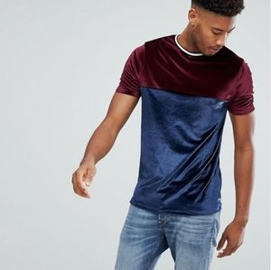 ASOS Velour T-Shirt with Contrast Yoke & Tipping